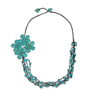 Handmade Cotton Reconstructed Turquoise Side Floral Bouquet Necklace (Thailand)|https://ak1.ostkcdn.com/images/products/5983065/P13673745.jpg?impolicy=medium