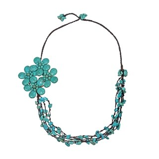 Handmade Cotton Reconstructed Turquoise Side Floral Bouquet Necklace (Thailand)