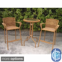 International Caravan Resin Wicker Outdoor 3 Piece Bar Height Bistro Set
