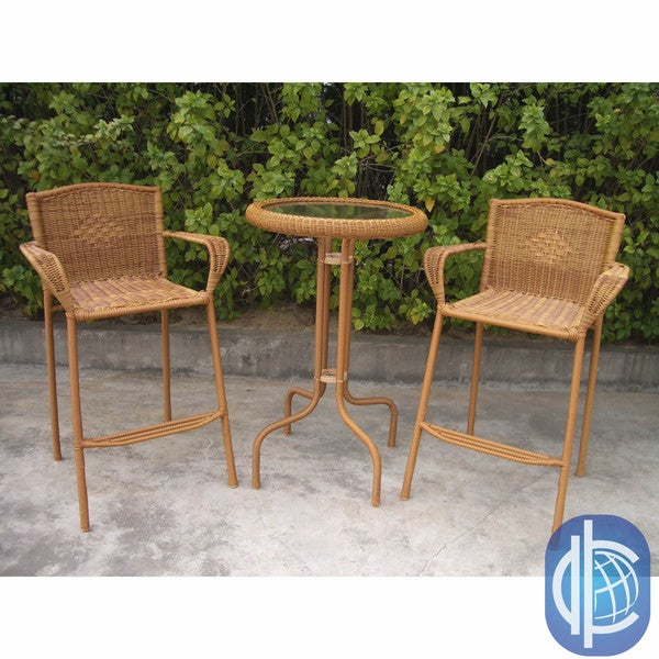 shop international caravan resin wicker outdoor 3 piece bar height bistro set on sale free. Black Bedroom Furniture Sets. Home Design Ideas