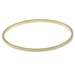Icz Stonez Gold over Silver Cubic Zirconia Bangle Bracelet