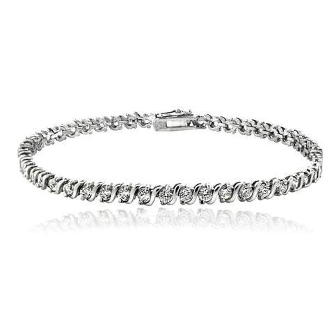 Icz Stonez Sterling Silver Cubic Zirconia 'S' Link Bracelet