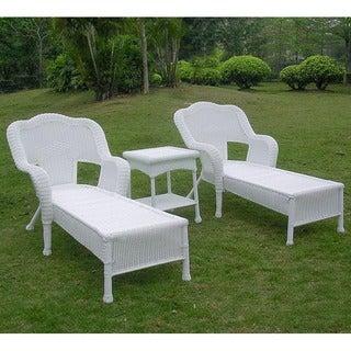 International Caravan Resin Wicker Outdoor 3 Piece Chaise Lounge Set