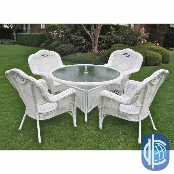 International Caravan Resin Wicker Outdoor 5 piece Dining