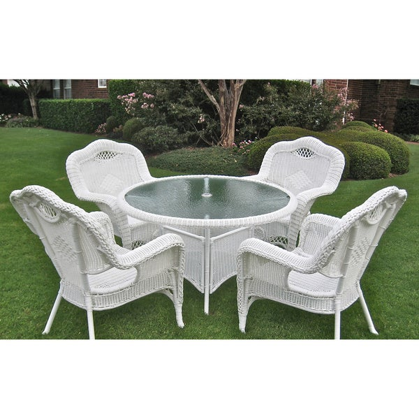 International Caravan Resin Wicker Outdoor 5 Piece Dining Set