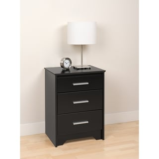 Yaletown Tall Black 3-Drawer Night Stand