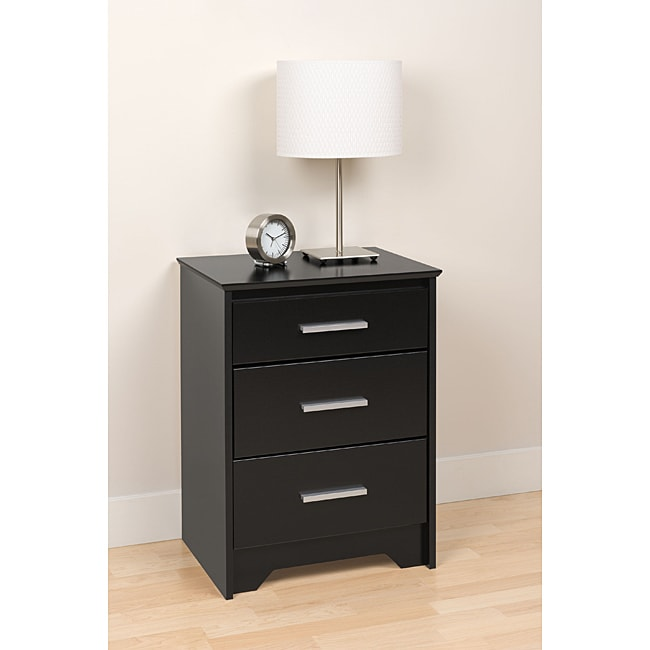 Yaletown tall black 3 drawer night stand free shipping for Extra tall nightstands