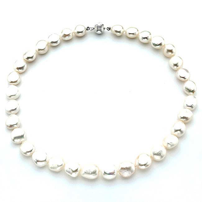 Pearlyta Sterling Silver White Baroque Freshwater Pearl Strand Necklace (13 mm)