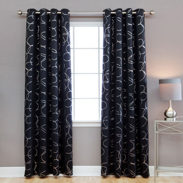 Aurora Home Modern Foil 96-inch Blackout Grommet Curtain Panel Pair - 104 x 96