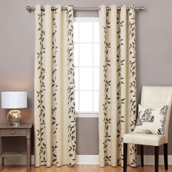 Aurora Home Leaf Print Blackout 84-inch Curtain Panel Pair