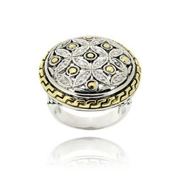 Icz Stonez Two-tone Silver Clear Cubic Zirconia Flower Ring