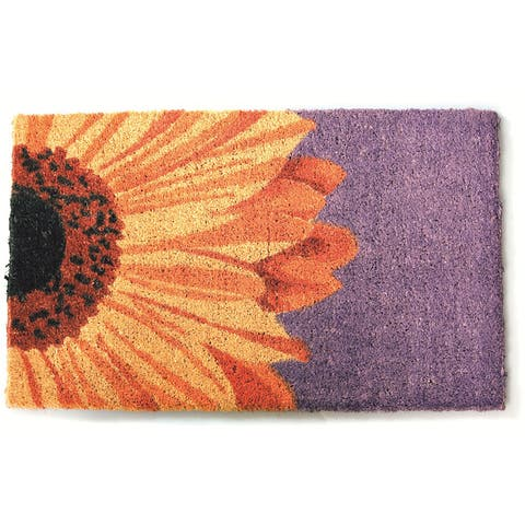 Beautiful Sunflower Non-slip Coir Doormat (1'5 x 2'4) - 1'5 x 2'4