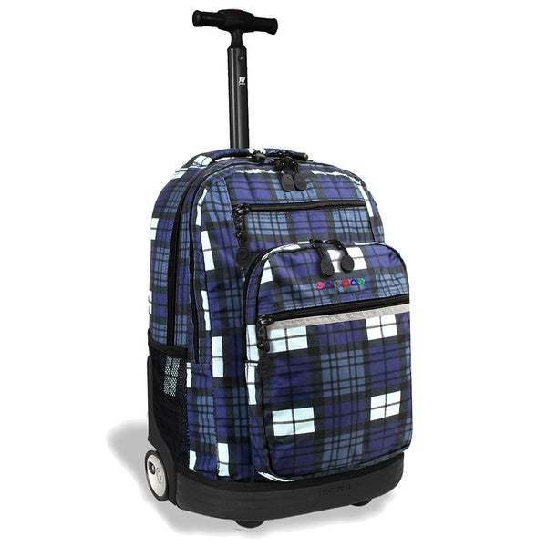 J World Sundace Tartan Navy Rolling 15-inch Laptop Backpack