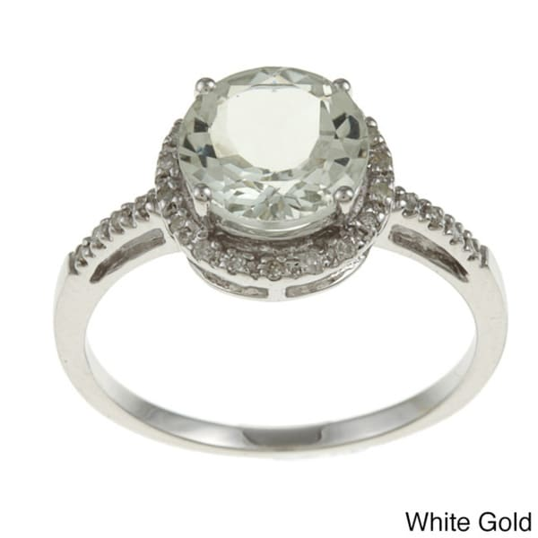 Viducci 10k Gold Green Amethyst and 1/8ct TDW Diamond Accent Ring (G-H, I1-I2)