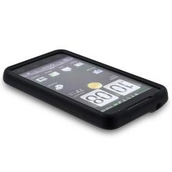INSTEN Black Soft Silicone Phone Case Cover with Screen Protector for HTC EVO 4G