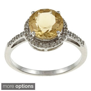 Viducci 10k Gold Citrine and 1/8ct TDW Diamond Accent Ring (G-H, I1-I2)