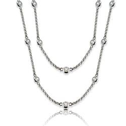La Preciosa Silvertone 36-inch Cubic Zirconia Necklace - Thumbnail 0