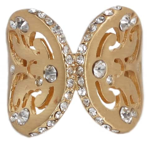 Nexte Gold Overlay Clear Rhinestone Merging Wings Ring