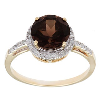 Viducci 10k Gold Smokey Quartz and 1/8ct TDW Diamond Accent Ring (G-H, I1-I2)