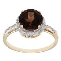 Viducci 10k Gold Smokey Quartz and 1/8ct TDW Diamond Accent Ring (G-H, I1-I2)
