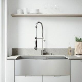 VIGO Farmhouse 36x20-inch Stainless Steel Kitchen Sink/ Faucet/ Two Strainers/ Dispenser