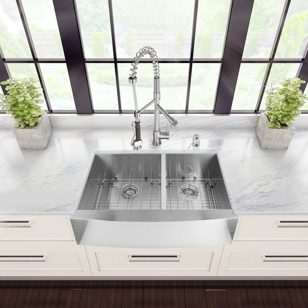 """VIGO All-In-One 36"""" Chisholm Stainless Steel Double Bowl Farmhouse Kitchen Sink Set With Zurich Faucet In Stainless Steel"""