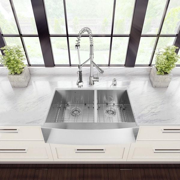 Stainless Steel Farmhouse Kitchen Sinks vigo all-in-one 36-inch stainless steel farmhouse kitchen sink and