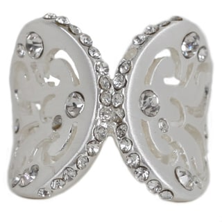 Nexte Silvertone Cubic Zirconia Butterfly Wings Ring