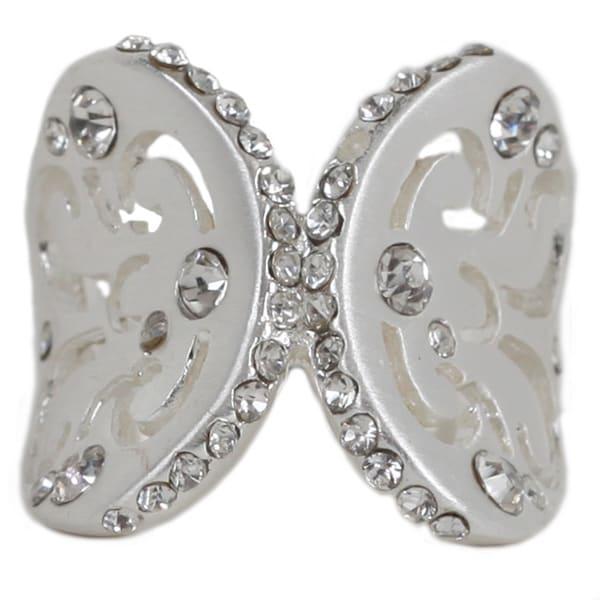 Nexte Silvertone Cubic Zirconia Butterfly Wings Ring