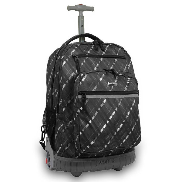 J World Sundace Preppy Grey Rolling 15-inch Laptop Backpack