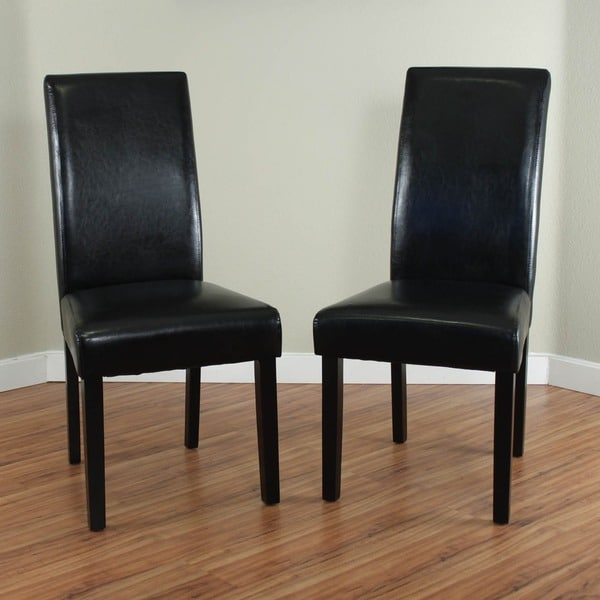 Villa Faux Leather Black Dining Chairs (Set of 2)