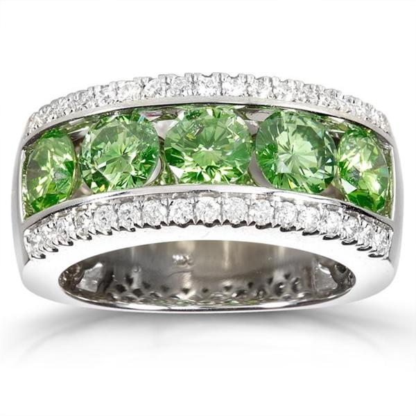 Annello by Kobelli 14k Gold 2 3/4ct TDW Green and White Diamond Band (G-H, I1-I2)