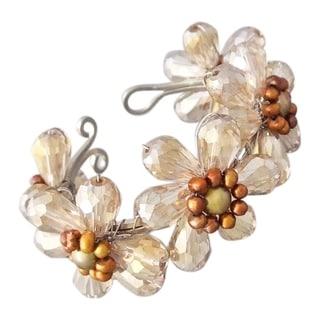 Handmade Steel Crystal/ Pearls Floral Cuff (4-7 mm) (Thailand)