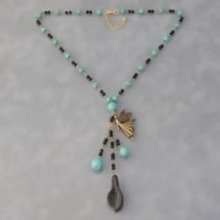 Handmade Brass Fairy Bead Turquoise/ Crystal Rosary Style Necklace (Thailand)