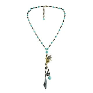 Handmade Brass Fairy Beaded Turquoise Rosary Style Necklace (Thailand)