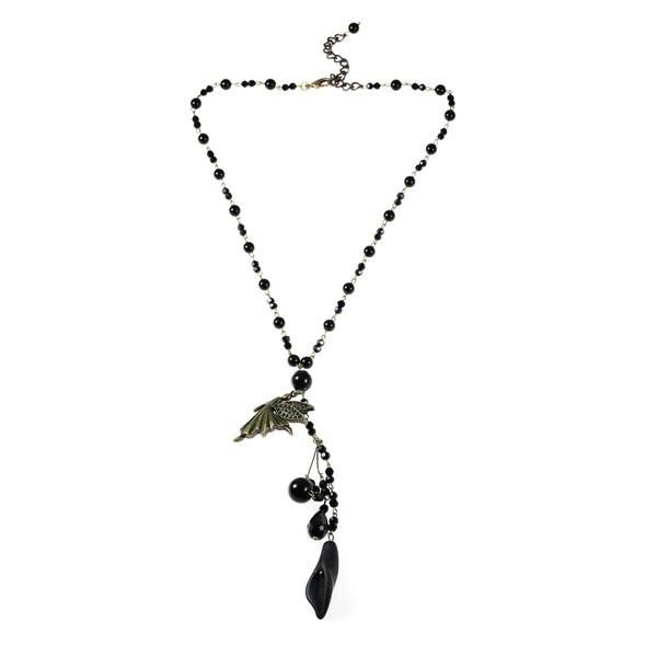 Handmade Brass Fairy Bead Onyx and Crystal Rosary Style Necklace (Thailand)