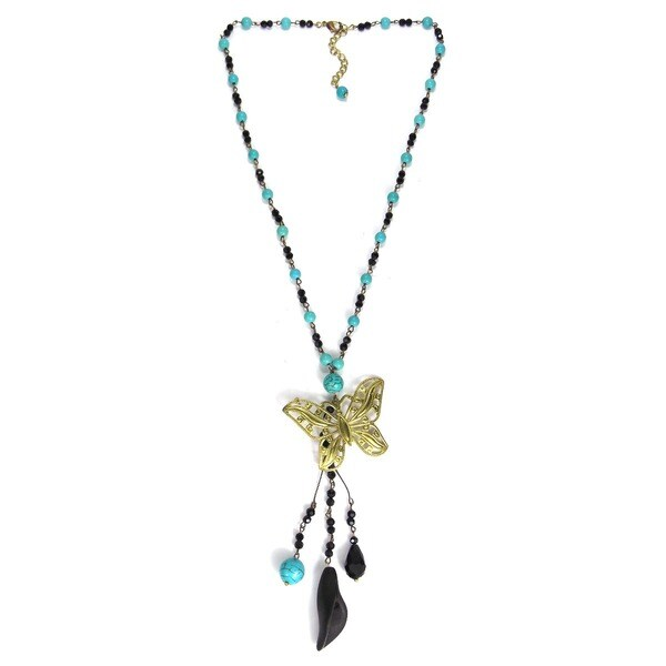 Handmade Brass Butterfly Bead Turquoise and Crystal Rosary Necklace (Thailand)