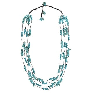 Handmade Cotton Rope Mod Reconstructed Turquoise Layered Necklace (Thailand)