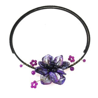 Handmade Cotton Rope Purple Shell and Amethyst Floral Wire Necklace (Thailand)