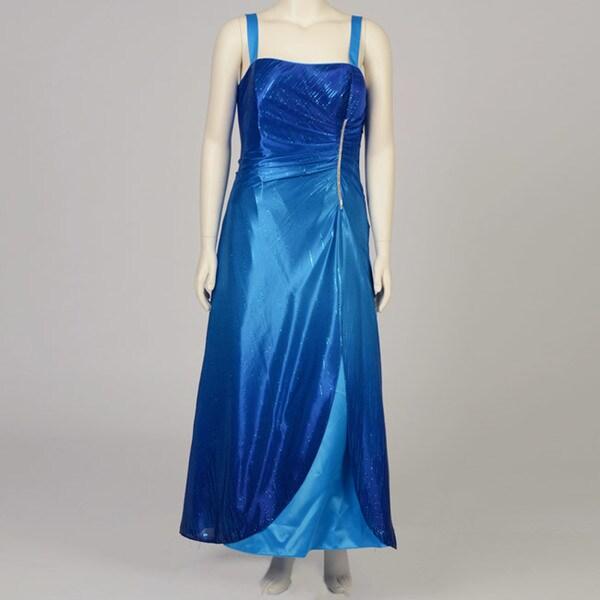 ef8fed9c7e Shop Onyx Nite Women s Plus Size Blue Ombre Glitter Ball Gown - Free ...