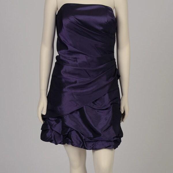 713452d509f0c Shop Onyx Nite Women's Plus Size Purple Taffeta Strapless Bubble Hem ...
