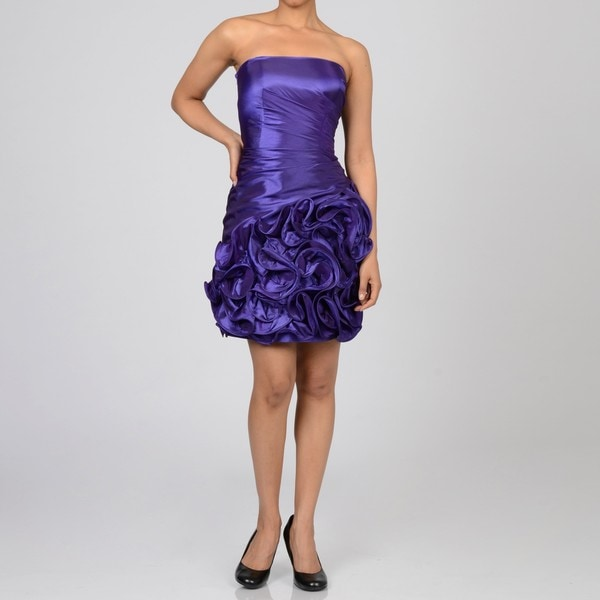 Onyx Nite Women's Purple Ruffle Hem Strapless Party Dress