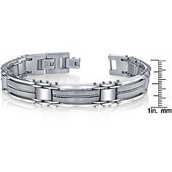 Stainless Steel Men's Wire Inlay Link Bracelet - Thumbnail 2
