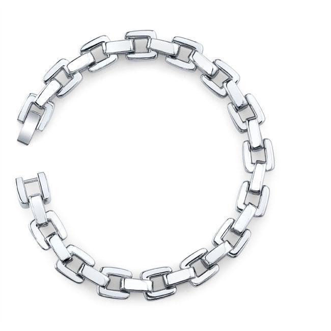 Stainless Steel Men's Square Link Bracelet