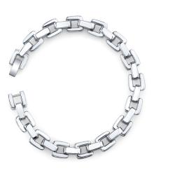 Stainless Steel Men's Square Link Bracelet