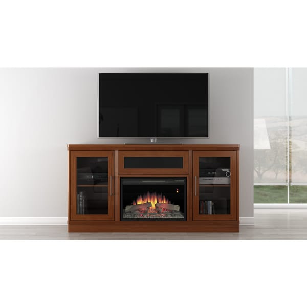 Transitional 70 inch Light Cherry Console with Fireplace