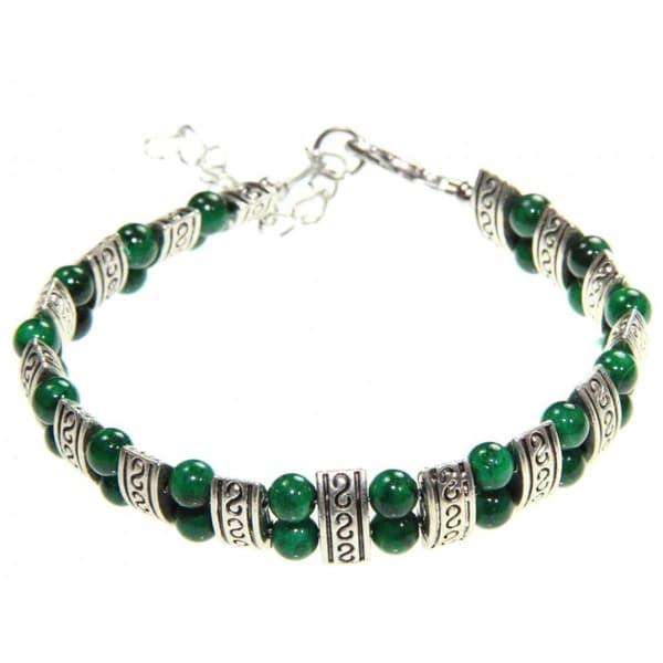 Handmade Tibetan Silver Malachite Bracelet (China)