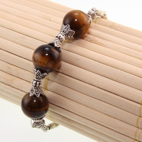 Handmade Tibetan Silver Tiger Eye Bracelet (China)