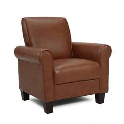 Exceptional Rollx Med Brown Faux Leather Accent Chair