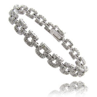 Finesque Sterling Silver 1ct Diamond Geometric Square Bracelet
